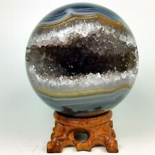 "3.42"" Polished agate sphere with crystal cluster center w/wood Stand Brazil A267"