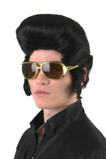 60's-70's Classic Presley Wig Black Pompadour Synthetic Hair Wig With Sideburns