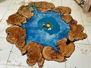 Olive wood epoxy resin round coffee table Natural live edge ocean resin