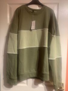 Mens New Look central block piped sweat in khaki, Size 3XL, New