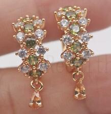 18K Gold Filled- Hollow Flower Cross Emerald Green Topaz Hoop Women Earrings  DS