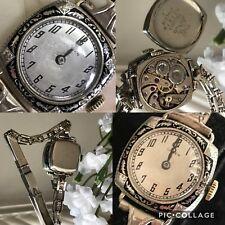 1920's Ladies Art Deco Black Enamel Gruen Watch ~ Runs