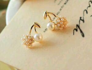 Ladies Elegant Gold Plated Cluster Cherry Stud Earrings White Freshwater Pearl