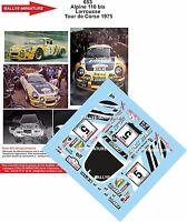 DECALS 1/18 REF 653 ALPINE RENAULT A110 LARROUSSE TOUR DE CORSE 1975 RALLYE