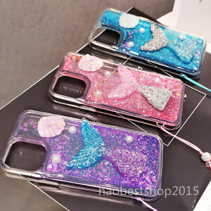 Bling Sparkly Mermaid Shell Dynamic Liquid Quicksand Back Soft Case For Huawei A