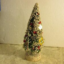 "Vtg Bottle Brush Christmas Tree Mica Tips Japan Ornament 10 1/2"" Packages Gifts"