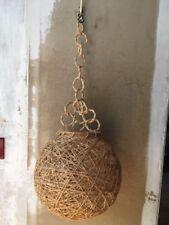 1960 ancienne lampe suspension boule cordes rotin  Style AUDOUX MINET Vintage