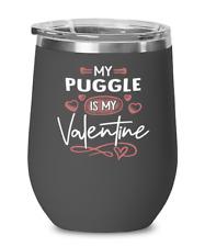 Puggle Dog Lovers Wine Glass Insulated 12oz Black Tumbler Mug Cute Gift for Dog