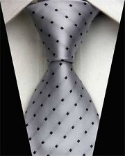 GIFTS FOR MEN Classic Geometric Dot Check Dots Mens Silk Necktie Tie Grey