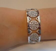 18K WHITE GOLD OVER 925 SILVER DESIGNERS ITALIAN BRACELET W/ 6.50 CT DIAMONDS