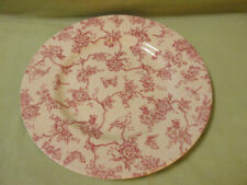 "Queens England Toile de Jouy Pink Dinner Plate 10.75"" Flowers Bugs Fine China"