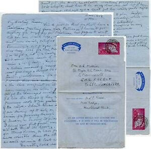 1957 PARLIAMENT SPECIAL AEROGRAMME TO SINGAPORE FARELF MORRIS PERSONAL LETTER