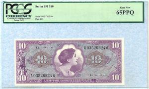 UNITED STATES MPC 10 Dollars 1965 M63 PCGS65PQ GEM NEW
