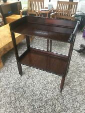 Vintage Mid-Century Rosewood  Rolling Serving Bar Tea Cart Folding Woodcraft