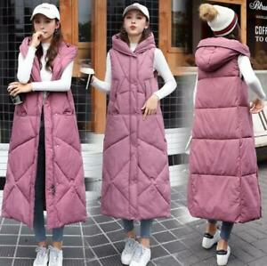 New autumn women down cotton vest overknee jacket Loose long waistcoat coat