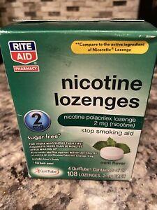 Rite Aid Nicotine Lozenges 2mg, 108 Mint Lozenges Sugar Free Exp 02/2021 New