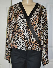 WORTH Brown Bittersweet Leopard Print Silk Twill Faux Wrap Blouse Top size 6 NWT