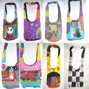 New Hippie Handmade in Nepali shoulder drop bag Jack Skellington Peace Elephant