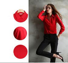 Fashion Ladies Long Sleeve Dress Chiffon Blouse Loose Button Casual T-Shirt