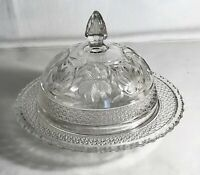 """Indiana Glass Crystal Rosepoint Band 7 3/8"""" Butter With Lid"""