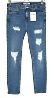 Topshop High Rise JAMIE Super Skinny Blue Ripped Ankle Stretch Jeans 12 W30 L30