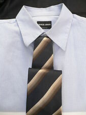 Men Giorgio Armani Authentic Dress Neck Tie Dark Blue Color Beige Brown Stripes