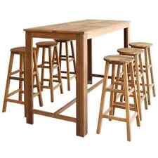 vidaXL Solid Acacia Wood Bar Table and Stool Set 7 Piece Dining Furniture