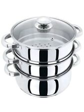 24CM  STEAMER COOKER POT SET PAN COOK FOOD GLASS LIDS 3 TIER STAINLESS STEEL