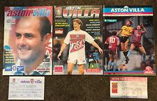 Aston Villa  - 3 x Home Football Programmes:  1988/95/98 & 2 x Tickets