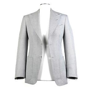 TOM FORD 34S Linen Silk Nailhead Smoke Gray Sport Coat Peak Lapel Patch Pocket