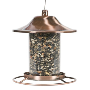 Panorama Hanging Wild Bird Feeder Copper Metal Squirrel Proof Holds 2 lb. Seed