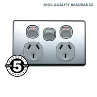 Double Power Point Extra Switch SLIM With Brushed Metal Cover Slimline Socket