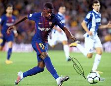 Ousmane Dembele Autographed Barcelona 11x14 Photo Signed Kicking - BAS Beckett