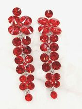 Exquisitely Ruby Red Crystals Waterfall Drop Style Dangle Stud Long Earrings