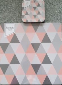 Geometric Design Pink & Grey Placemats and Coasters