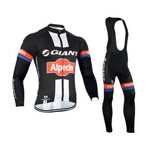 Mens Team Cycling Jersey Set Cycling Jersey Long Sleeve And Bib Pants Outfit Kit
