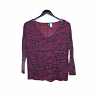 H&M Divided Women's Top Size XS Red Black Ombre Long Sleeve Stretchy Shirt
