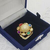 VINTAGE Scarf Ring Clip Large Faux Pearl Centre Gold Tone Multi-Colour Retro