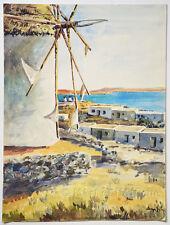 MOULIN A VENT Grèce, AQUARELLE originale, Art XXe, vintage Watercolor, GREECE