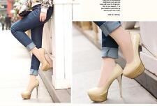 Stiletto Zapatos de Salón Elegantes Mujer Novia Perno Plataforma 13.5CM Beis