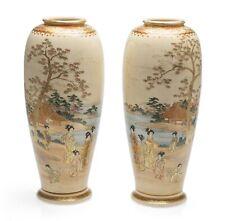 More details for pair japanese satsuma ware vases by koshida - meiji period c1890