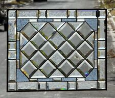 Clear, Blue,Beveled Stained Glass , Panel,Hanging,Privacy Window