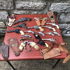 VTG Lot Cowboy Cap Gun Holster Hubley Pal Mattel Fanner 50 45 Smoker Toy 60s
