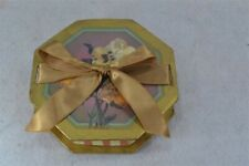 box handmade paper cardboard lady pansies silk ribbon fancy original 19th c vg