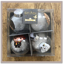NEW HARRY POTTER WIZARDING WORLD SNOW CHRISTMAS DECORATIONS FOUR BAUBLES