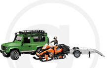 Toy Bruder Land Rover Vehicle Station Wagon, Trailer, Snowmobile and driver