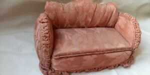 ANTIQUE MINIATURE SCALE SOFA UPHOLSTERY GOBELINS WOOD EARLY 1940