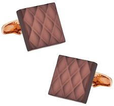 Quilted Metallic Brown Rose Gold Cufflinks Direct from Cuff-Daddy