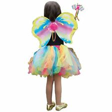 Kids Deluxe Rainbow Fairy Wings Wand Tutu Fancy Dress Fairytale Costume Kit