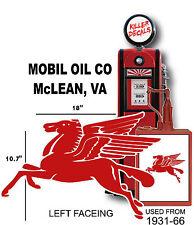 """(MOBI-2) 18"""" MOBIL LEFT FACING PEGASUS GASOLINE GAS PUMP OIL TANK DECAL"""
